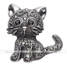 Damen Mode schwarz Strass Legierung Süß Katze Brosche Pin f. Schal Anzug