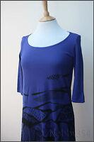 Ladies Miss Sixty Dress Blue / Black Print Knee Length 100% Cotton S M L XL BNWT