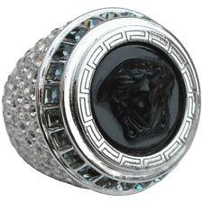Versace Black Medusa Crystal Oversized Silver-Tone Statement Ring