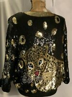 Vitg. Heavily Black Gold Sequin, Beaded Panther Top Womens 1X-2X, Dolman SL, UEC