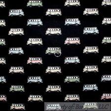 BonEful Fabric FQ Cotton Quilt VTG Black Sepia Color VW Camper Van Bus Stripe US