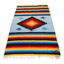 Multicolour Powder Blue  Mexican Aztec Floor Rug Large Size Blanket Throw Saddle