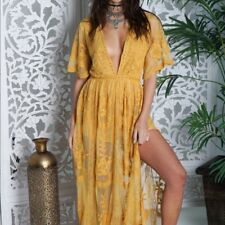 Honey Punch Yellow Embroidered Lace Romper Maxi Dress. Style: ID5009C-YE