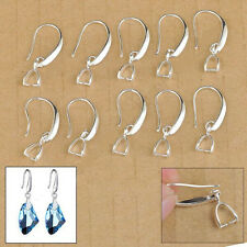 10PCS Jewelry Findings Silver Jewelry Earring Bail Pinch Smooth Hook Ear Wires