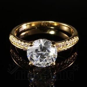 18K Gold Wedding Engagement Round Solitare CZ Ladies Women Band Wedding Ring