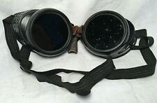 Vintage Bausch & Lomb Safety Goggles Glasses Steam-Punk Leather Nose Piece