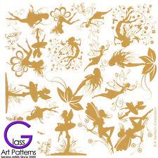 Fairy Fusing Glass Decal Ceramic Waterslide Enamel-Black-White Gold Fairies