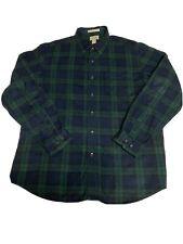 Men's L.L.Bean L-Reg Long Sleeve Blue Green Plaid Button Up Shirt Flannel Casual