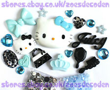 3D DIY Mobile Cell Phone Case Blue  Kawaii Hello Kitty cabochon Deco Den Kit