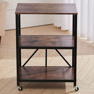 Wood Bookshelf Bed Sofa Side End Table 3 Tier Storage Shelf Cart Microwave Stand