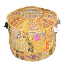 Indian Ottomans Pouf Cover Embroidery Round Ottoman Cover Patchwork Home Décor
