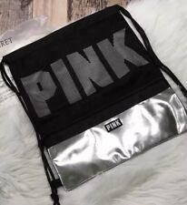 Contra Victorias Secret Rosa Cordón Mochila Negro Plata Logo Grande