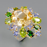 Citrine Quartz Ring Silver 925 Sterling Jewelry Fine ART Size 8 /R145127