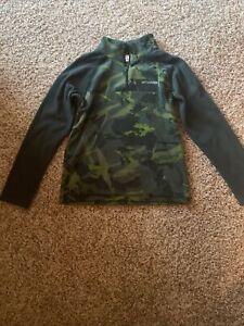 Columbia Boys Pull Over Fleece Half Zip Shirt Green Camo Size Medium 1012