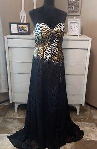 Tony Bowls Paris Elegabt Formal Gown Dress Black Leopard Print Strapless Sz 14