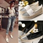 Women Flat Shoes Weave Slip On Boat Canvas Loafers Espadrilles Moccasin Sneakers