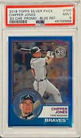 CHIPPER JONES 2018 TOPPS BLUE REFRACTOR  #/d /150 PSA GRADED MT 9 ATLANTA BRAVES