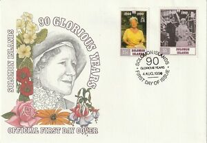 SOLOMON ISLANDS 1990 QUEEN MOTHER 90th BIRTHDAY UNADDRESSED FIRST DAY COVER