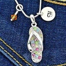 Flip Flop Sandal Multi Personalized Pendant Letter Birthstone Custom Necklace