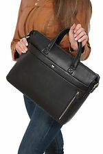 Womens Real Leather Black Briefcase Business Tablet Shoulder Work Organiser Bag