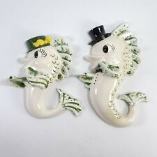 2 Vintage Kitsch Fish Wall Decor Plaques Anthropomorphic Chalkware Mid Century