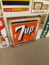 Vintage Large 7 Up Metal Sign Rusty Gold GAS OIL SODA COLA