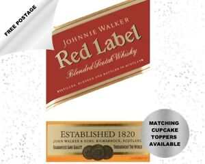 Johnnie Walker Red Label Whisky edible icing cake topper - add message