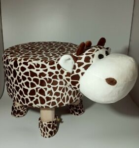 Luxury Wooden Spotted Brown Cow Padded Foot Stool, Pouf, For kids teens & adults