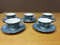 FLINTRIDGE china MISTY LEAF (5 Sets) Footed Cups & Saucers - Excellent
