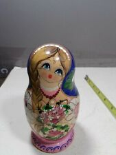 Wonderful vintage hand painted wood Russian nesting doll signed 5.5 x 2.75
