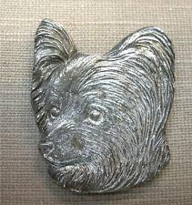 Vintage Pappilion Dog Head Silver Pin Detti Original