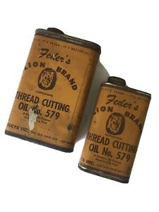 Vintage Feder's Lion Brand Thread Cutting Oil No 579 Cans Lot of 2 Los Angeles