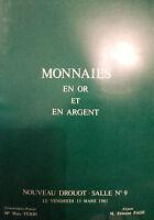 1981  CATALOGUE DE VENTE ILLUSTRE DROUOT MONNAIES EN OR ET ARGENT