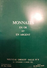 1981  CATALOGUE DE VENTE ILLUSTRE DROUOT MONNAIES EN OR ET ARGENT
