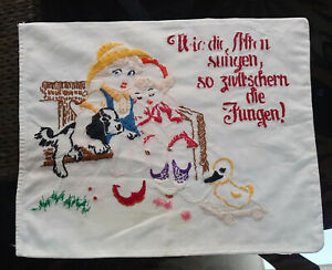 "Vntg Embroidered GERMAN Cotton Pillowcase Boy & Girl w/Duck & Dog 18 x 14"""