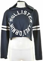 HOLLISTER Womens Hooded Top Long Sleeve Size 10 Small Navy Blue Cotton  JH02