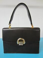 Vtg KORET Jackie O Ad Men Espresso LEATHER w Bright Gold Accents Purse Handbag