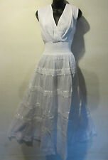 Dress Medium White Ribbon Lace Empire V neck Cotton Peasant Sundress NWT BR 11