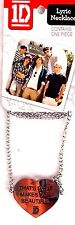 "NEW 1D Lyric Necklace Fashion Jewelry Chain Necklace ""...Makes You Beautiful..."""