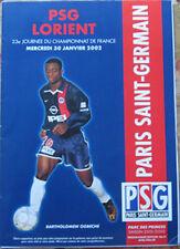 Programme officiel n°11 match de football ligue 1 PSG-Lorient du 30/01/2002