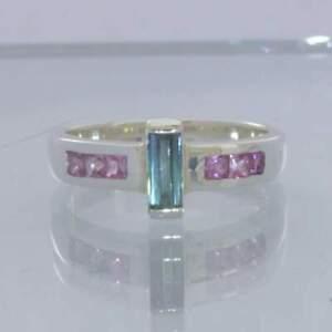 Indicolite Blue Green Tourmaline Pink Sapphire Sterling Ring Size 7.5 Design 654