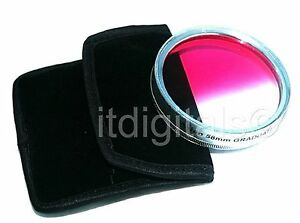 52mm Graduated Pink Color Lens Glass Filter Screw-in Half Pink Half Clear Coated