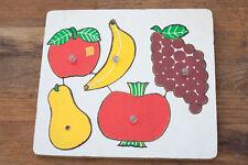 Vintage peg Jigsaw / Play Puzzle - 5 Piece fruit