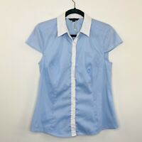 Portmans Womens Shirt Pin Stripe White Blue Button Front Corporate Work Size 10