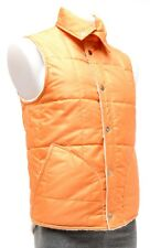 La Paz Amaral Men Quilted Fleece Vest SMALL Orange Off White Casual Thermal