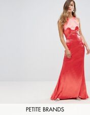 Jarlo Petite High Neck Fishtail Maxi Dress With Strappy Open Back Detail Red UK6