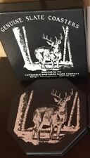 Genuine Slate Coasters -Buck in Woods-Deer Capozzolo Brothers Bangor PA with box