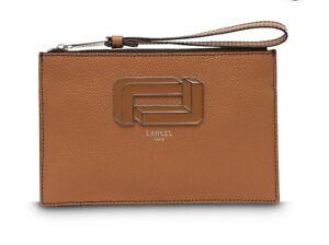 Lancel Mia Leather Clutch Bag In Camel