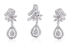 Classy 3.27 Cts Natural Diamonds Pendant Earrings Set In Fine Hallmark 18K Gold