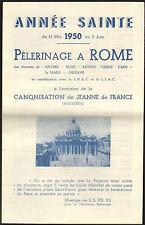 PROSPECTUS PELERINAGE A ROME CANONISATION JEANNE DE FRANCE 1950